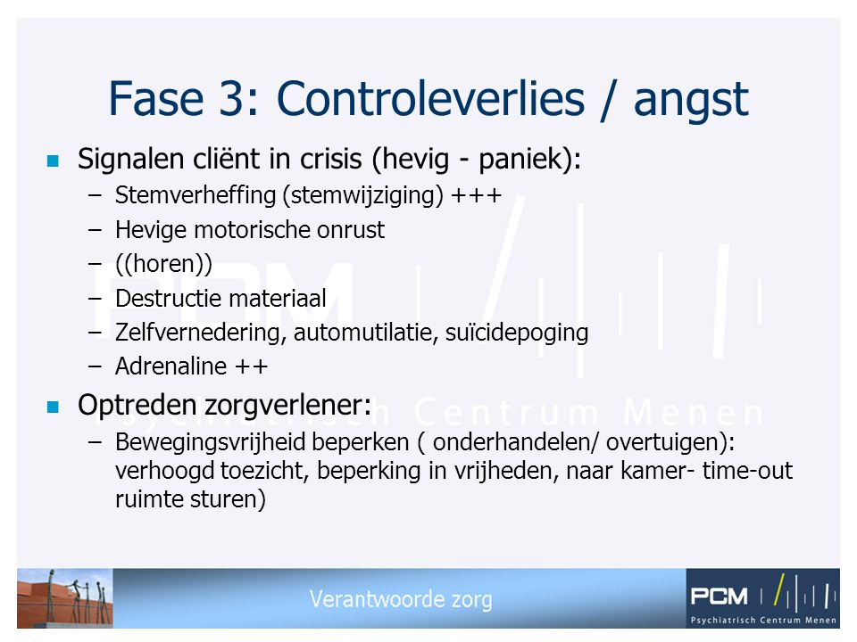 Fase 3: Controleverlies / angst