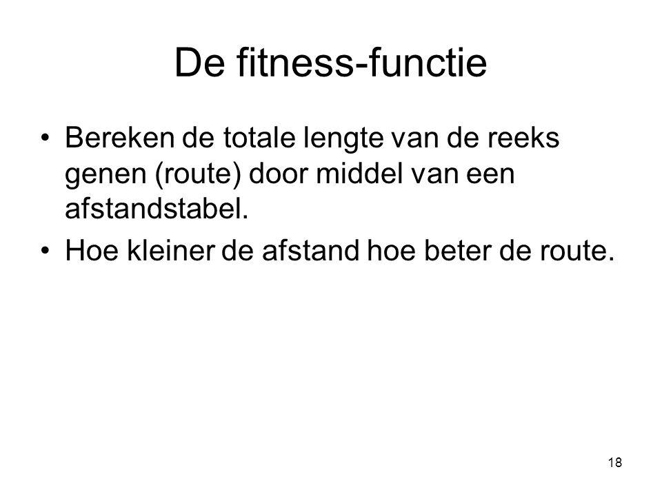 De fitness-functie Bereken de totale lengte van de reeks genen (route) door middel van een afstandstabel.