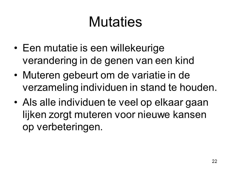 Mutaties Een mutatie is een willekeurige verandering in de genen van een kind.