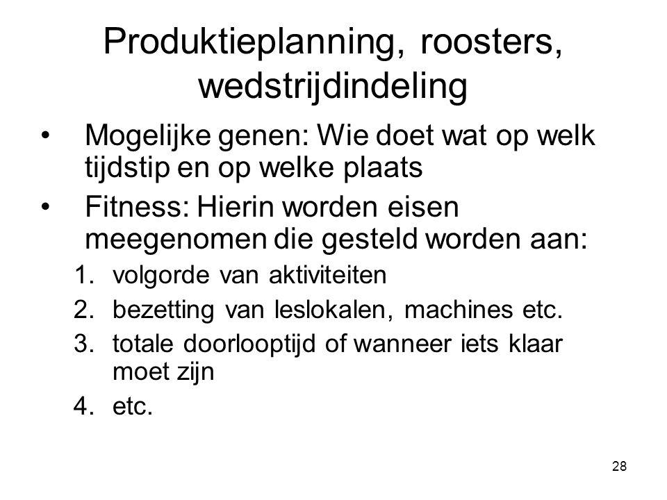 Produktieplanning, roosters, wedstrijdindeling