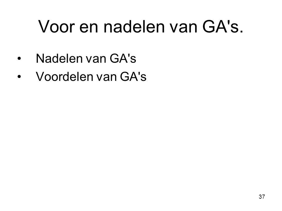 Voor en nadelen van GA s. Nadelen van GA s Voordelen van GA s