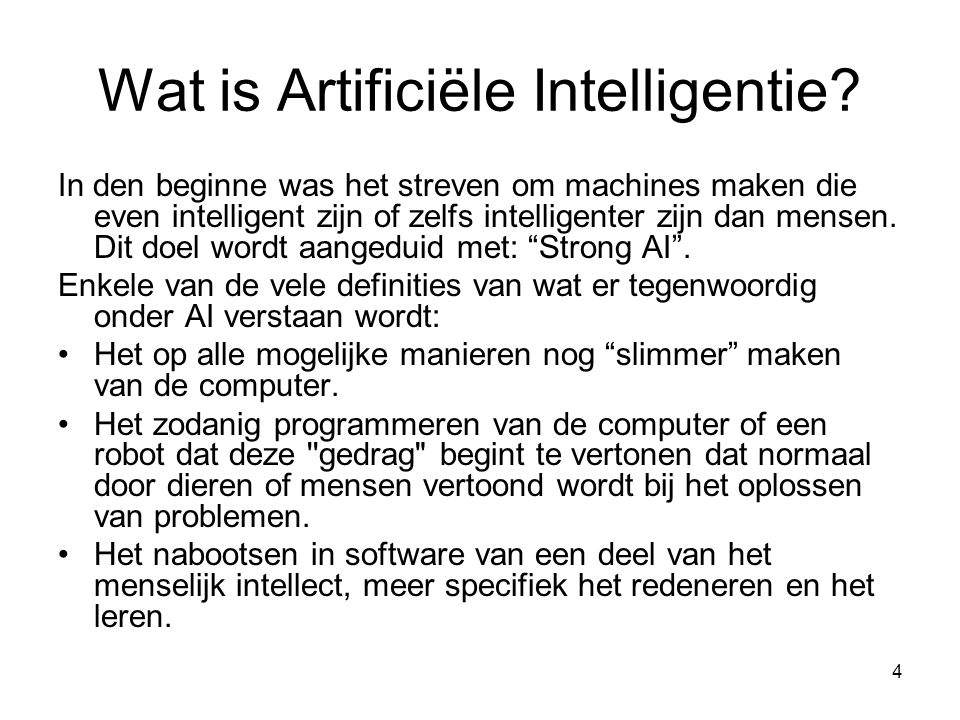 Wat is Artificiële Intelligentie