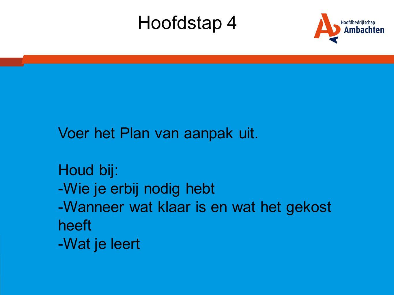 Hoofdstap 4 Voer het Plan van aanpak uit. Houd bij: