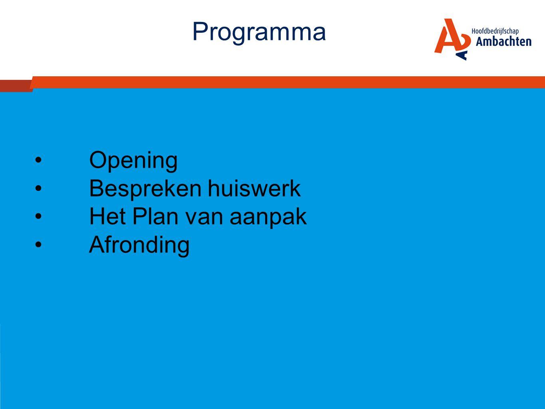 Programma Opening Bespreken huiswerk Het Plan van aanpak Afronding