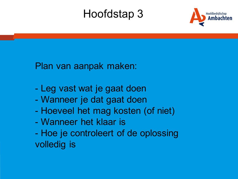 Hoofdstap 3 Plan van aanpak maken: Leg vast wat je gaat doen
