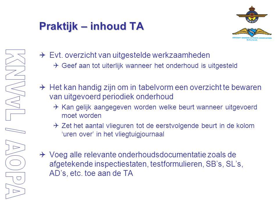 Praktijk – inhoud TA Evt. overzicht van uitgestelde werkzaamheden