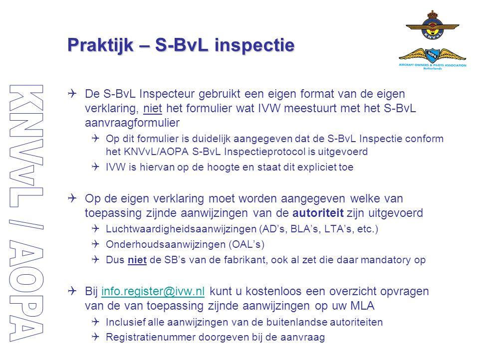 Praktijk – S-BvL inspectie