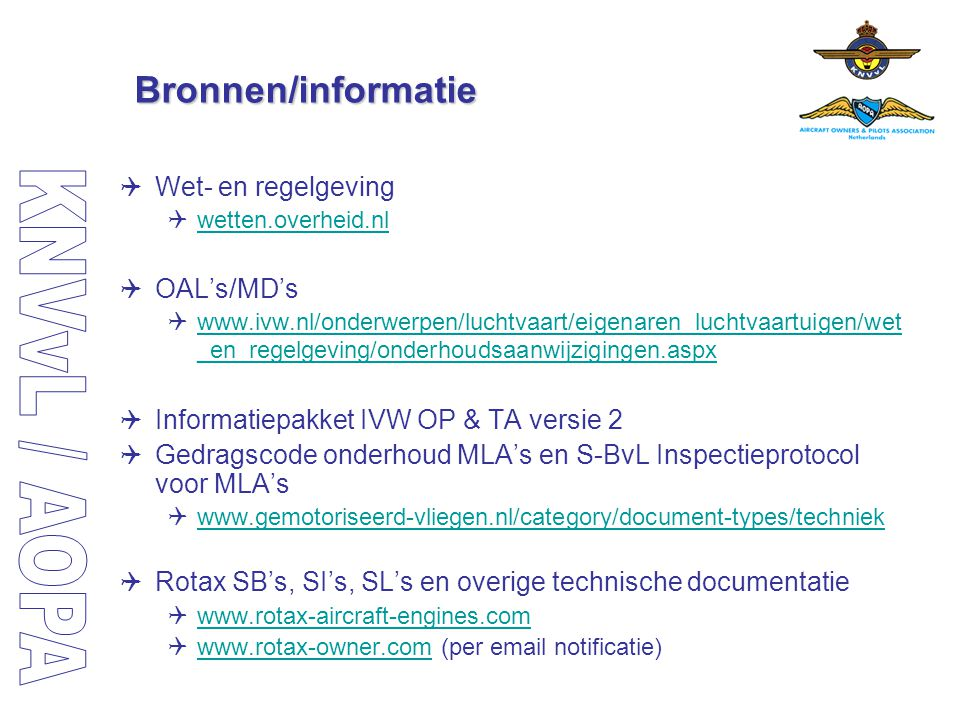 Bronnen/informatie Wet- en regelgeving OAL's/MD's