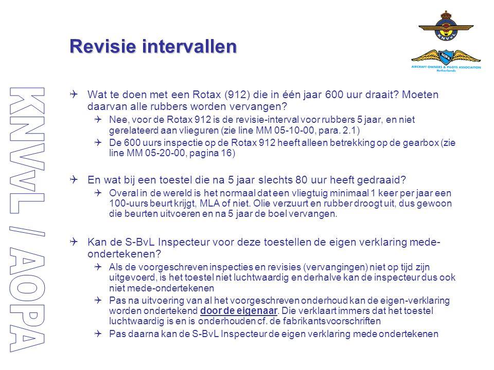 Revisie intervallen Wat te doen met een Rotax (912) die in één jaar 600 uur draait Moeten daarvan alle rubbers worden vervangen