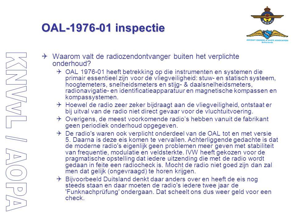 OAL-1976-01 inspectie Waarom valt de radiozendontvanger buiten het verplichte onderhoud