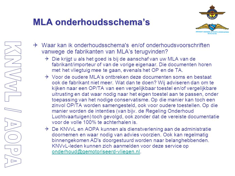 MLA onderhoudsschema's
