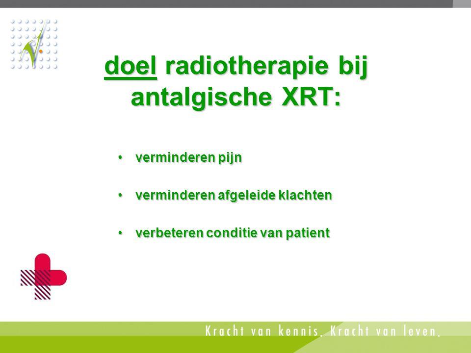 doel radiotherapie bij antalgische XRT: