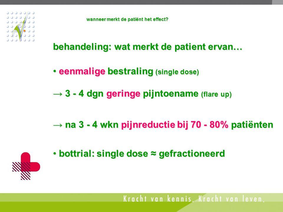 behandeling: wat merkt de patient ervan…