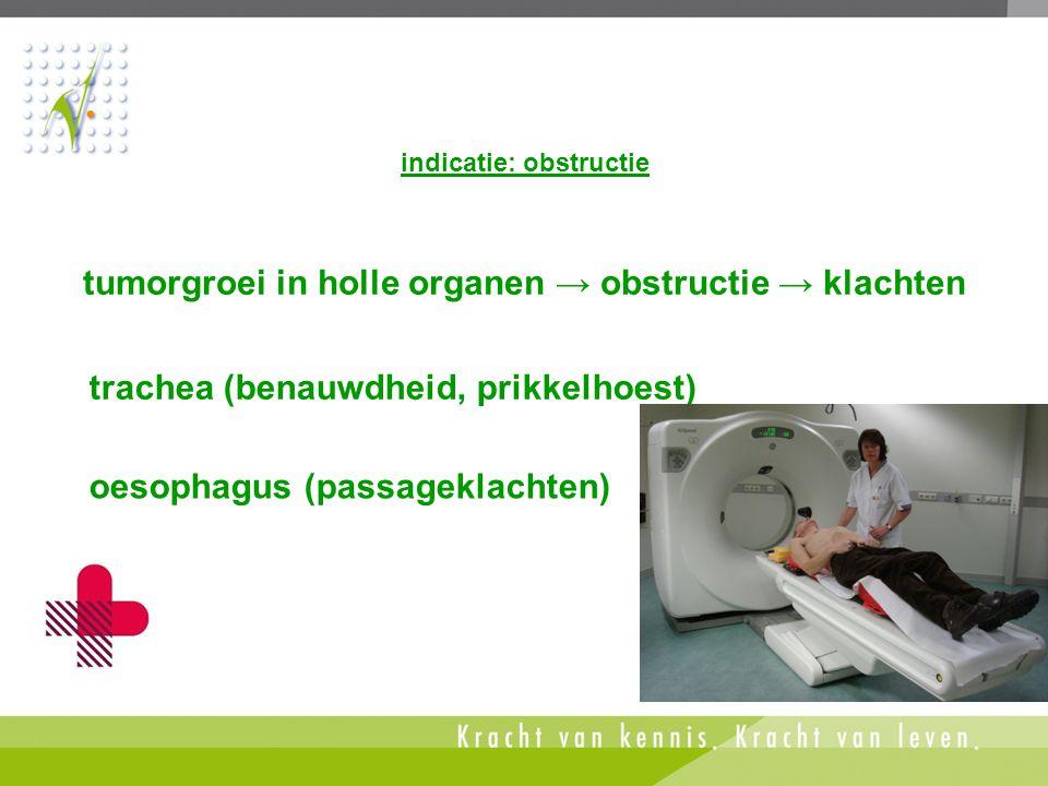 tumorgroei in holle organen → obstructie → klachten