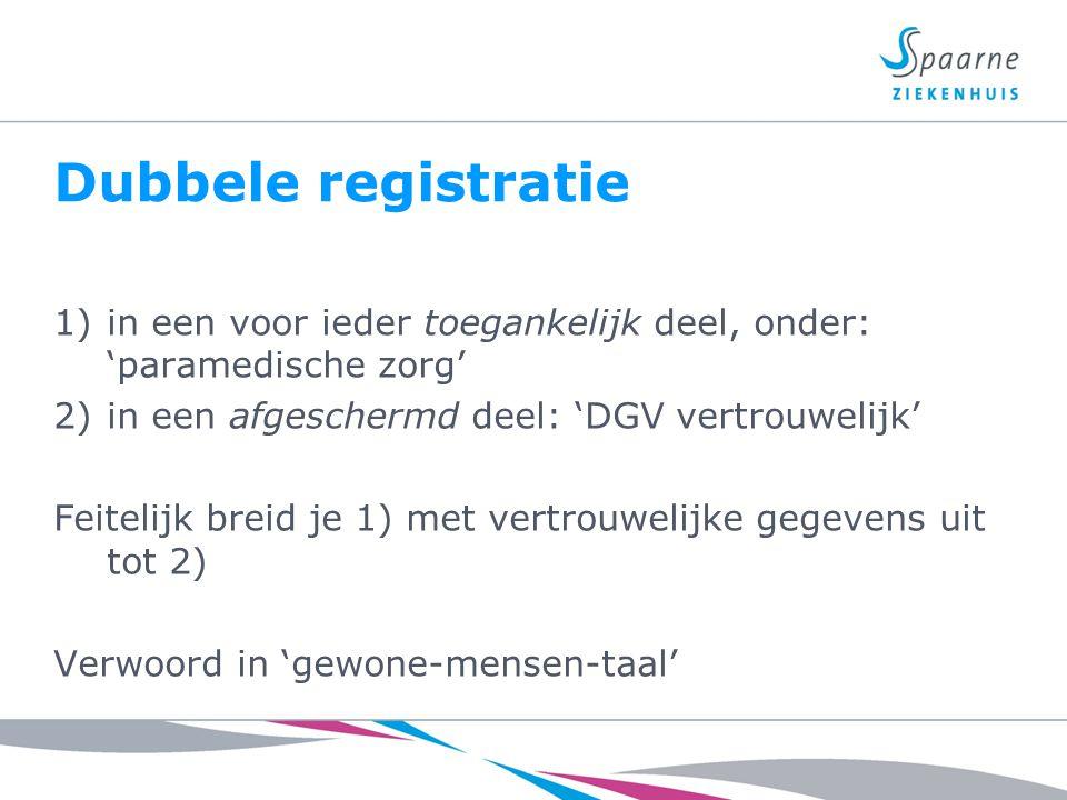 Dubbele registratie in een voor ieder toegankelijk deel, onder: 'paramedische zorg' in een afgeschermd deel: 'DGV vertrouwelijk'