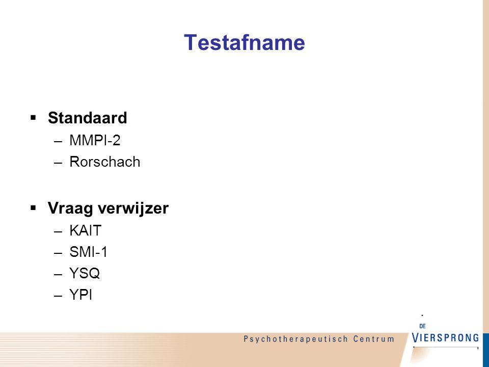 Testafname Standaard Vraag verwijzer MMPI-2 Rorschach KAIT SMI-1 YSQ