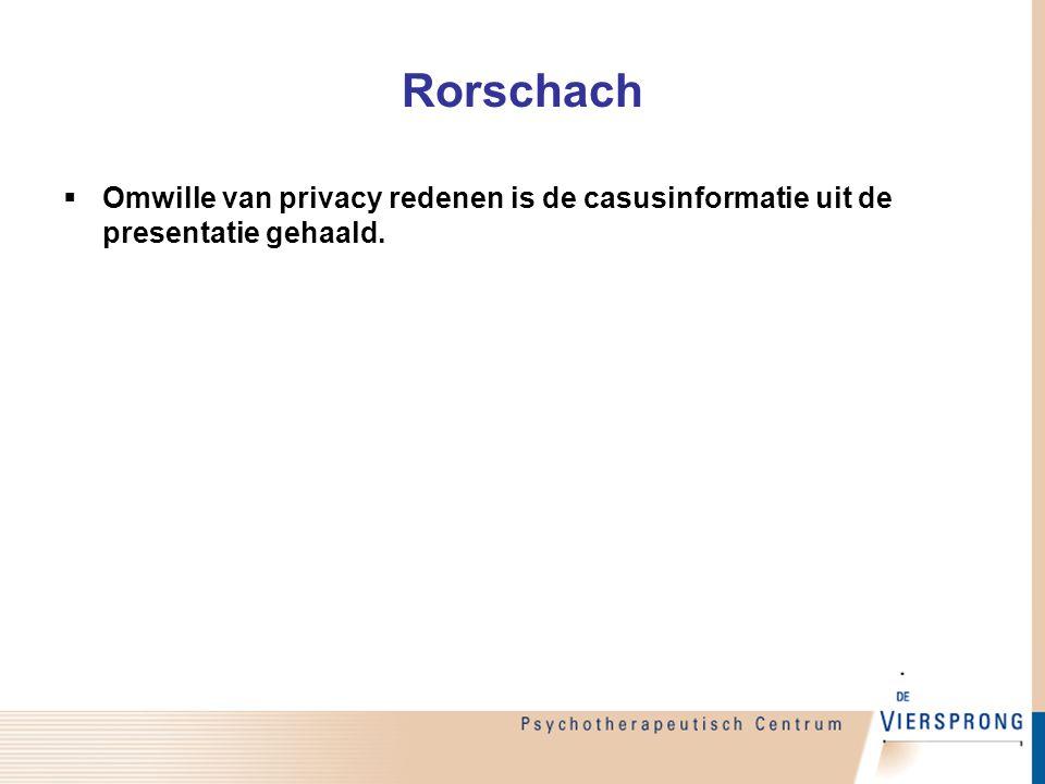 Rorschach Omwille van privacy redenen is de casusinformatie uit de presentatie gehaald.