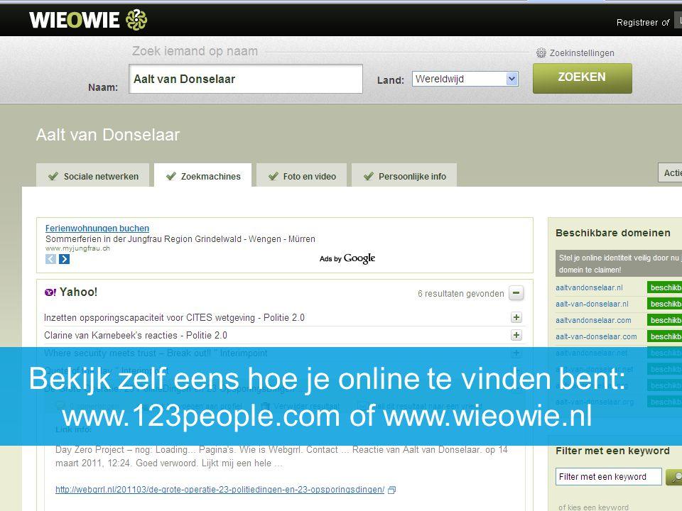 Bekijk zelf eens hoe je online te vinden bent: www. 123people