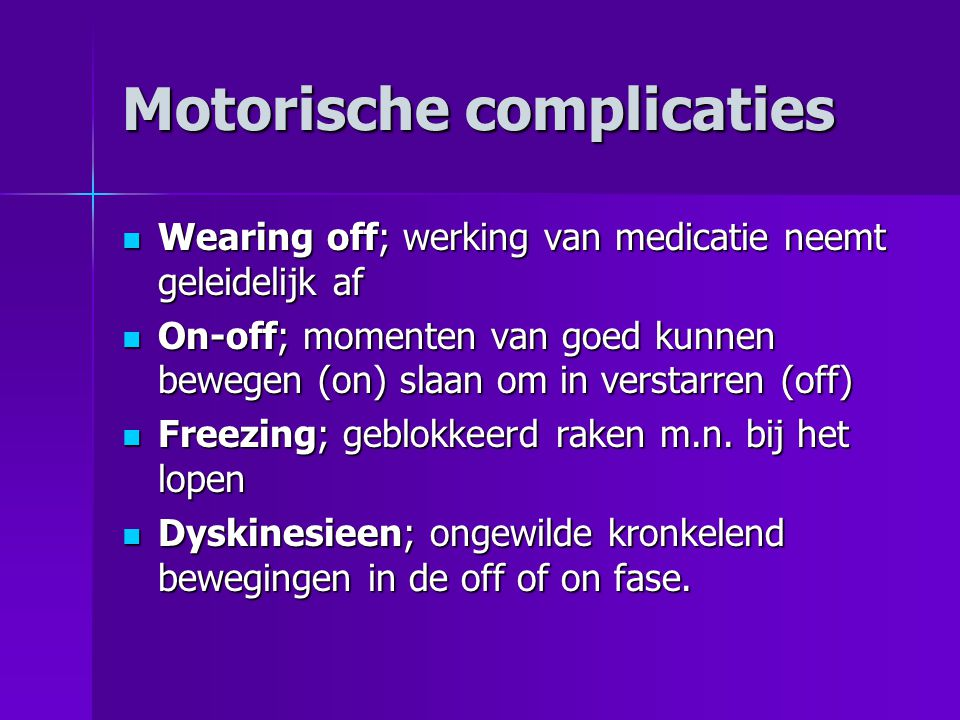 Motorische complicaties
