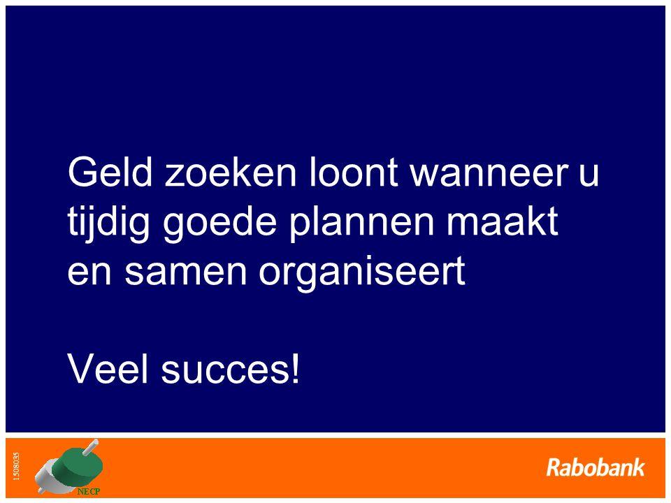 Geld zoeken loont wanneer u tijdig goede plannen maakt en samen organiseert Veel succes!