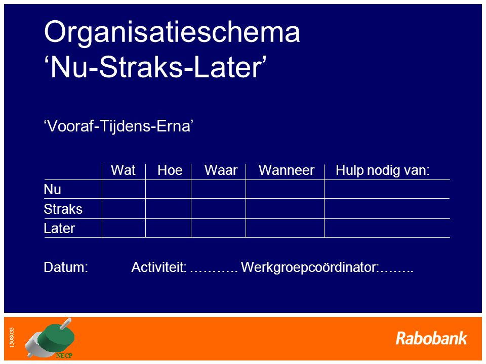 Organisatieschema 'Nu-Straks-Later'