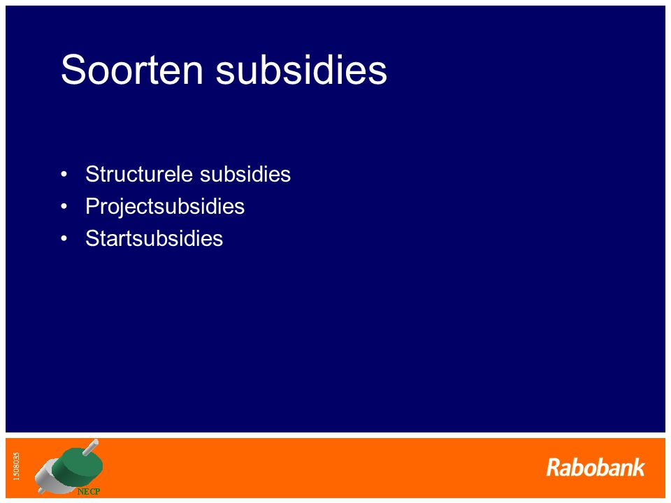 Soorten subsidies Structurele subsidies Projectsubsidies