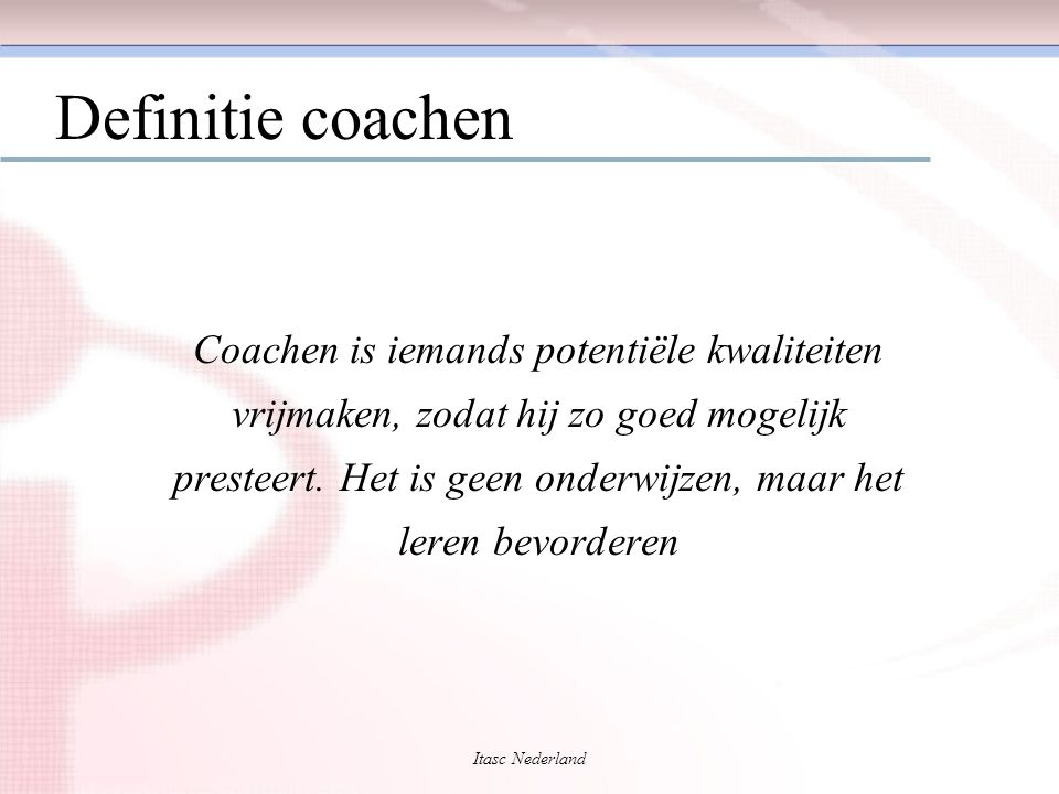 Definitie coachen