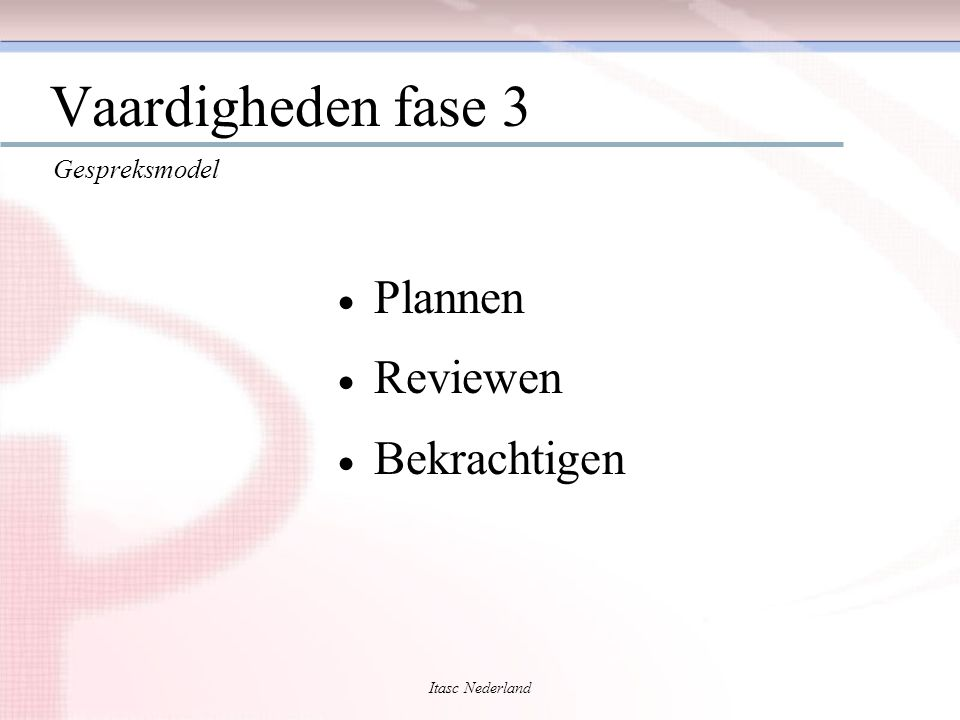 Vaardigheden fase 3 Plannen Reviewen Bekrachtigen Gespreksmodel