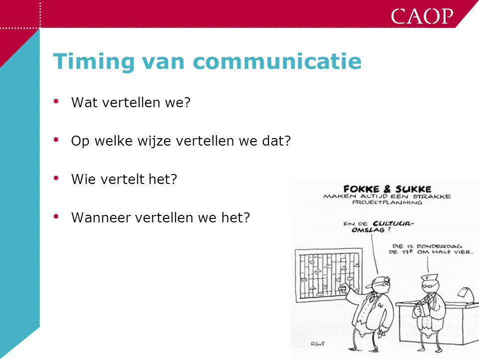 Timing van communicatie