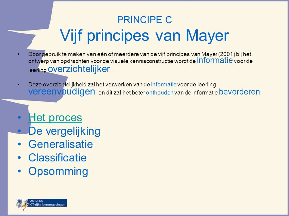 PRINCIPE C Vijf principes van Mayer