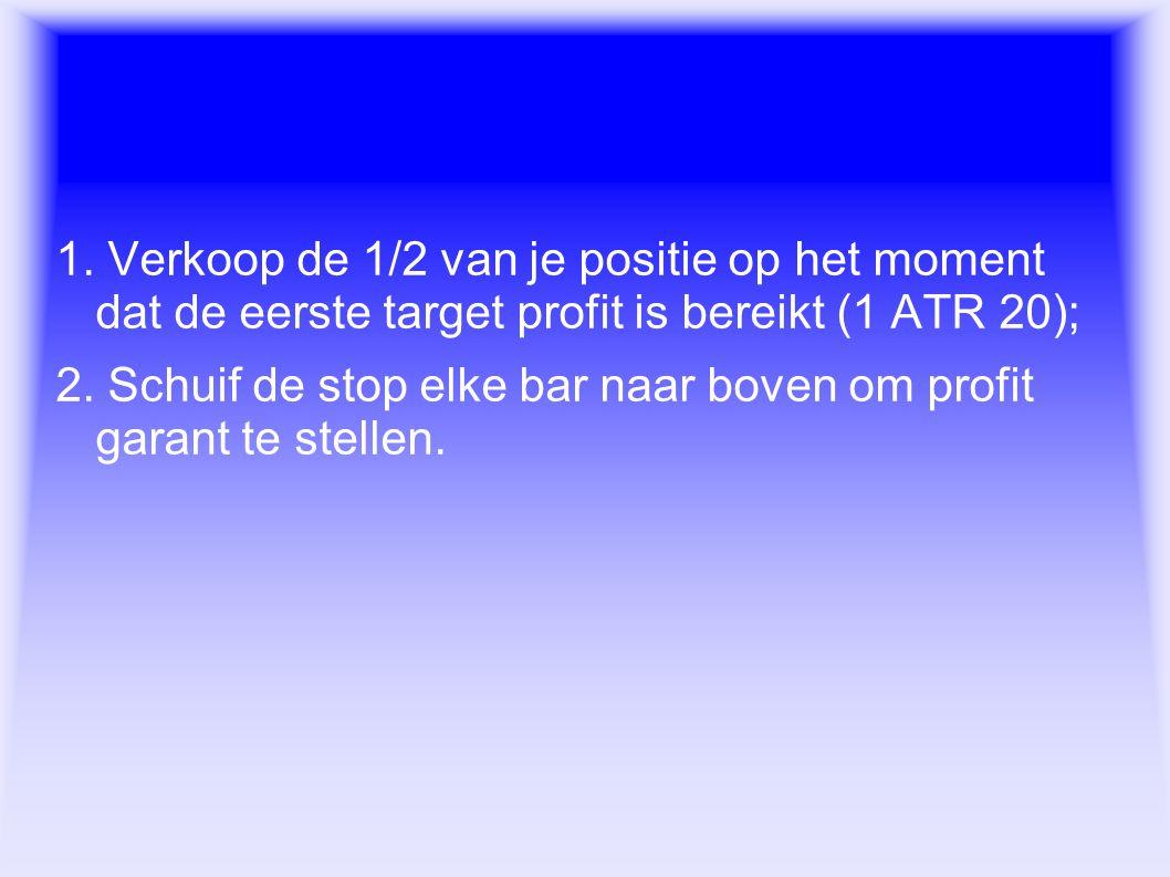 Exit regels 1. Verkoop de 1/2 van je positie op het moment dat de eerste target profit is bereikt (1 ATR 20);
