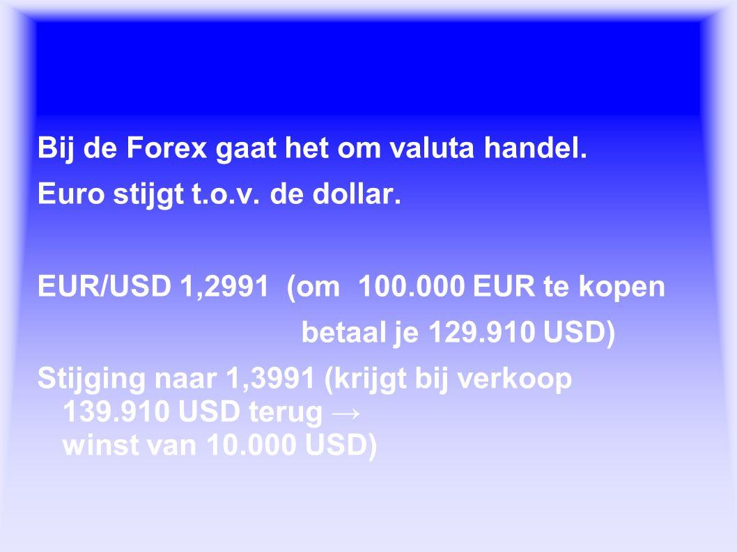 Wat is de Forex. Bij de Forex gaat het om valuta handel.