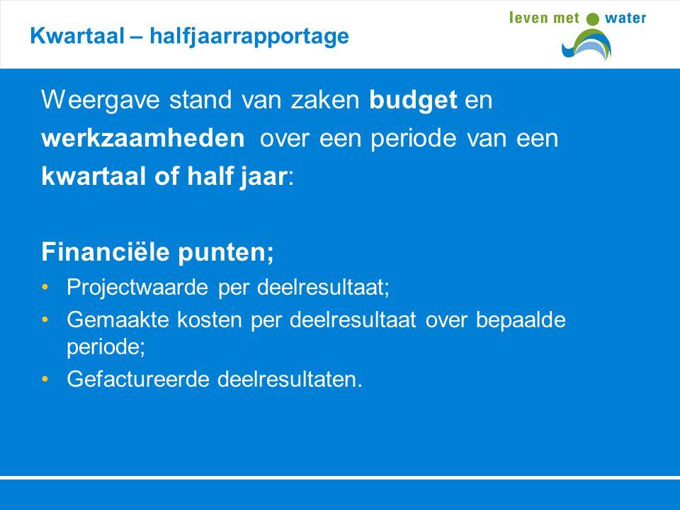 Weergave stand van zaken budget en