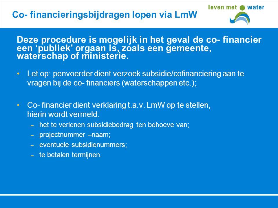 Co- financieringsbijdragen lopen via LmW