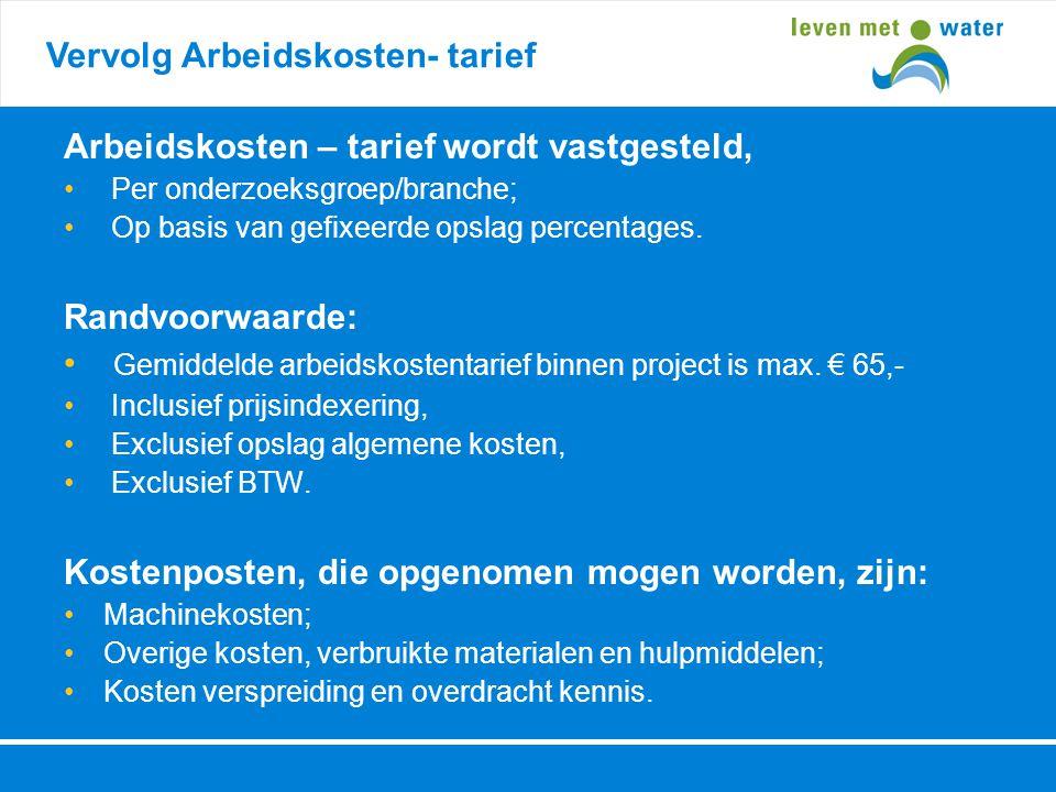 Vervolg Arbeidskosten- tarief