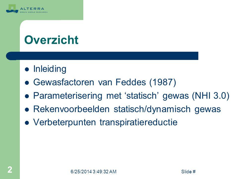 Overzicht Inleiding Gewasfactoren van Feddes (1987)