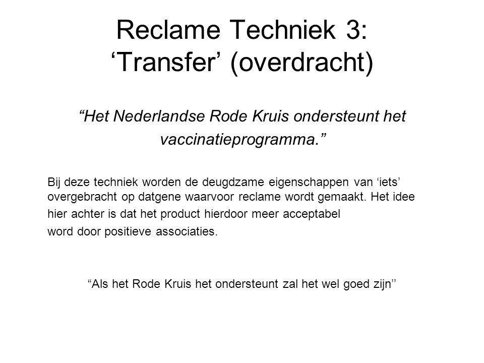 Reclame Techniek 3: 'Transfer' (overdracht)