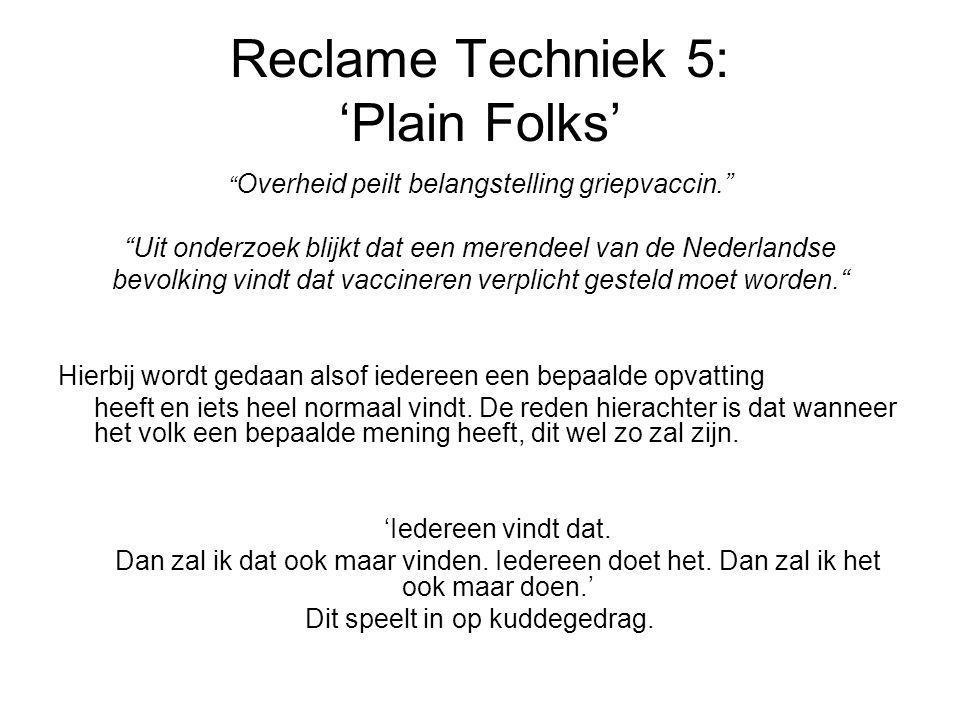 Reclame Techniek 5: 'Plain Folks'