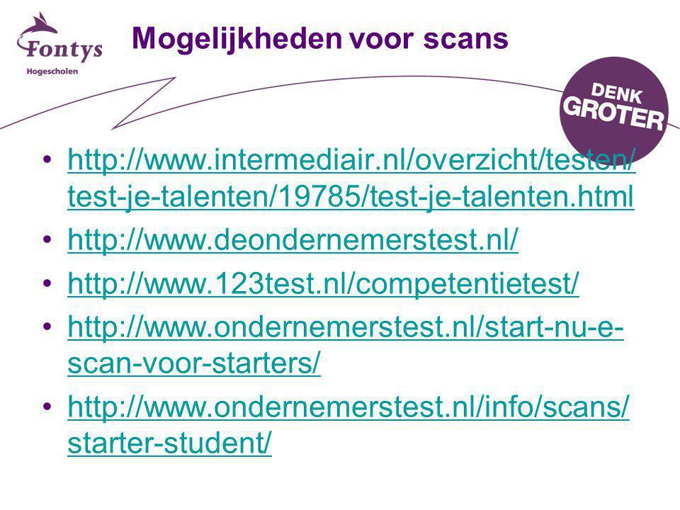Mogelijkheden voor scans