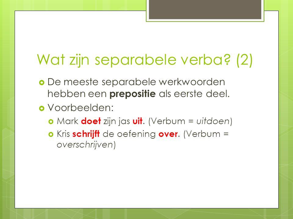 Wat zijn separabele verba (2)