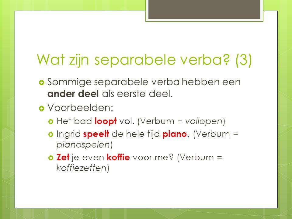 Wat zijn separabele verba (3)