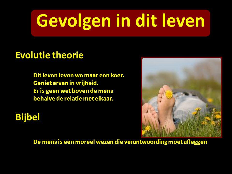 Gevolgen in dit leven Evolutie theorie Bijbel