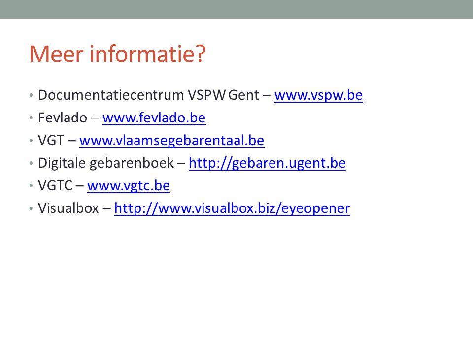 Meer informatie Documentatiecentrum VSPW Gent – www.vspw.be