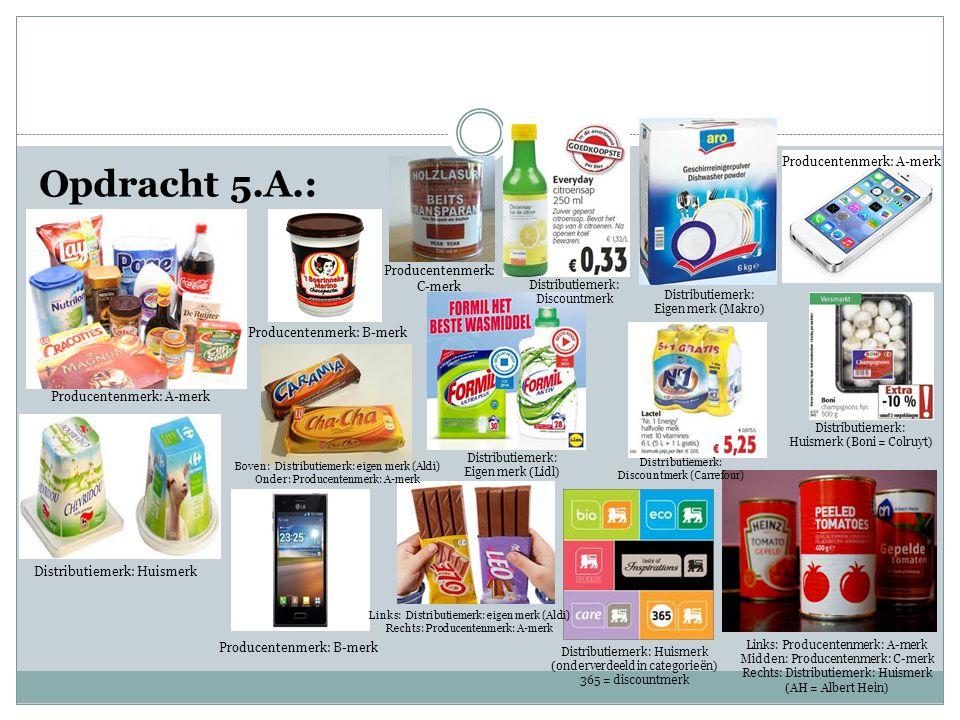 Opdracht 5.A.: Producentenmerk: A-merk Producentenmerk: C-merk