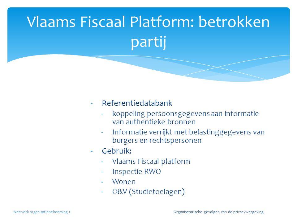 Vlaams Fiscaal Platform: betrokken partij