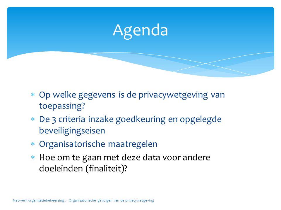 Agenda Op welke gegevens is de privacywetgeving van toepassing