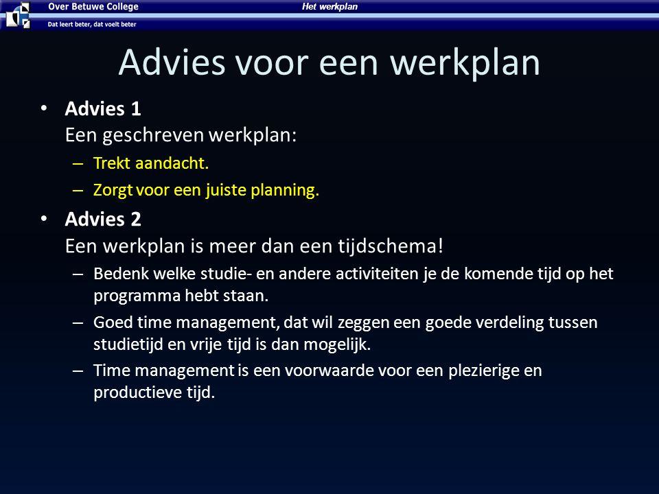 Advies voor een werkplan