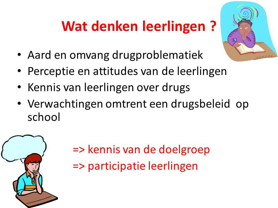Wat denken leerlingen Aard en omvang drugproblematiek