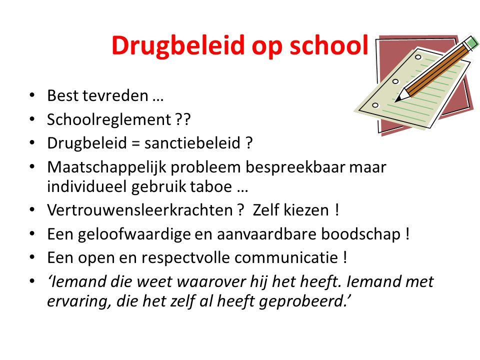 Drugbeleid op school Best tevreden … Schoolreglement