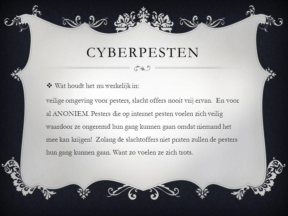 Cyberpesten Wat houdt het nu werkelijk in: